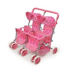 Badger Basket Quad Deluxe Doll Stroller - Pink/White 2 + 2 and off you go. Our Quad Deluxe doll stroller seats four dolls comfortably with storage beneath for all their gear. Two-point belts keep everyone in their seats. Little Girl Toys, Baby Girl Toys, Toys For Girls, Barbie Doll House, Barbie Dolls, Quad Stroller, Baby Doll Furniture, Baby Doll Strollers, American Girl Doll Sets