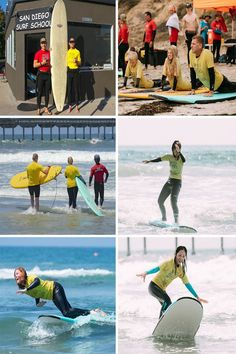 Watch the progression of someone starting at the surf school to standing on a surf board! Learn To Surf, All Over The World, Surfboard, San Diego, Surfing, Baseball Cards, School, Sports, Watch