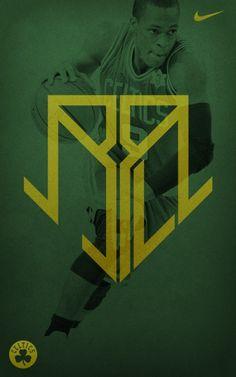 Self-initiated logo design exercise for Boston Celtics basketball player Rajon Rondo. I Love Basketball, Basketball Players, Celtics Basketball, Graphic Design Typography, Logo Design, Sports Advertising, Celtic Pride, Sports Graphics, Dope Art