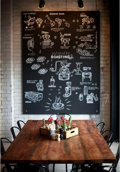 The perfect dining room. Dark wood, unique lighting, chalkboard