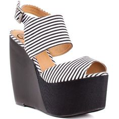 Penny Loves Kenny Women's Nickola Ankle-Strap Sandal,Black/White,6.5 M US - Go back in time with the Nickola and outshine a vintage vibe. A black and white striped fabric creates the single vamp and thick ankle strap. A tall 5 1/2 inch heel and 2 inch platform will inspire confidence. $79.00 #Webstore