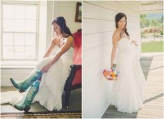 Ranch Wedding Bride with Turquoise Boots
