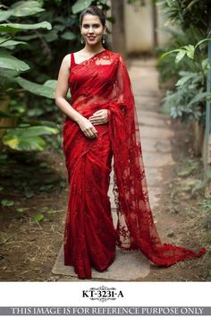 7663e7baf051bc Buy Online Red Color Designer Multi Net Saree Red Saree, Saree Blouse  Designs, Celebrity