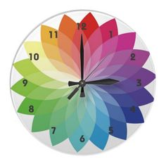 Rainbow Colors Floral Burst Design Wall Clock - try to DIY this with the petal shaped paint swatches