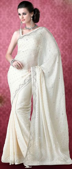 Off #White Faux #Chiffon Jacquard #Saree with #Blouse