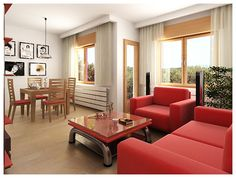 Charming Red Sofas for Gorgeous Living Room: Fabulous Red Sofas Minimalist Modern Style Spacious Living Room