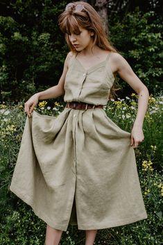 Lniana długa sukienka na cienkich ramiączkach, GREEN PEAR yanowska.pl Midi Skirt, Lens, Skirts, Fashion, Moda, Fashion Styles, Midi Skirts, Skirt