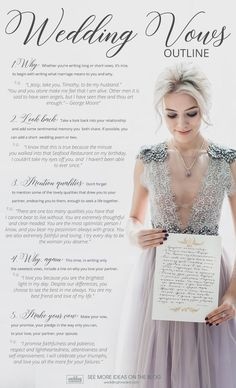 If you are searching for ideas on wedding vows for her, you've got the list of romantic wedding vows. Take a look at 50 marriage vows for her!wedding vows for her wedding vows outline Romantic Wedding Vows, Wedding Vows For Her, Fall Wedding, Dream Wedding, Wedding Bride, Writing Wedding Vows, Writing Vows, Wedding Ceremony Script, Perfect Wedding