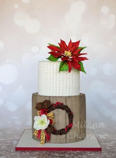 Winter Poinsettia Cake - Cake by MilenaChanova Christmas Deserts, Christmas Cake Decorations, Holiday Cakes, Christmas Baking, Christmas Cookies, Xmas Cakes, Cupcakes, Cupcake Cakes, Winter Torte