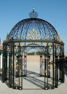 Hexagon Shaped Iron Victorian Gazebo, Domed Top, Very Intricate 50-03353a, Includes Tempered Glass - thegatz