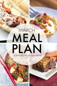 This March Meal Plan includes easy dinners, sides, and desserts to help you save time and plan ahead. Menu planning made easy with recipes for the month. | www.persnicketyplates.com #menuplanning #mealplanning #easyrecipes #dinner #familyrecipes