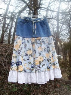 Upcycled women's country skirt- this works, so many dont!