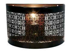 en métal ajouré Dimensions : Hauteur : 20 cm Largeur : 30 cm Profondeur : 12 cm Coloris : finition rouille Fonctionne avec 1 ampoule (culot E14) non fournie