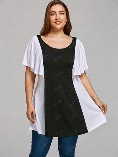 Color Block Plus Size Tunic T-shirt - BLACK WHITE 5XL