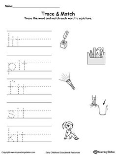 **FREE** IT Word Family Trace and Match Worksheet. Topics: Fine Motor Skills, Writing, Phonics, Reading, and Word Families. Alphabet Tracing Worksheets, Alphabet Worksheets, Writing Worksheets, Preschool Worksheets, Phonics Reading, Teaching Phonics, Kindergarten Literacy, Rhyming Words, Vocabulary Words