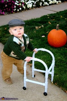 Randomly found this picture on pintrest of a little boy I watch at child watch!!! He was a little old man for 2011 Halloween. The other kids at work love playing with his walker!