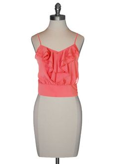 Ruffle Front Camisole in Coral