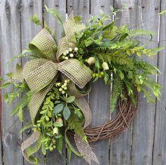 Everyday Wreath Everyday Pod and Burlap Wreath by HornsHandmade