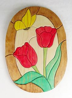 "Handcrafted Wooden Intarsia Red Tulip Flower Yellow Butterfly Wall Art Plaque. Up for sale is a lovely wooden intarsia red tulip & yellow butterfly wall plaque that was handcrafted by my husband with lots of attention to detail. Hand Crafted Intarsia Tulip & Butterfly Approx. size: 15 1/2"" tall and 11"" wide Materials: Stained Pine for a natural look Birch plywood backer Finish: Wipe On Poly Wall hanger included."