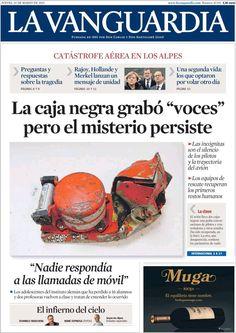 Diario LA VANGUARDIA del 26 de Marzo 2015 Recordamos que pueden visualizar cada día las principales portadas titulares ocurridos en España - Catalunya - Barcelona en http://www.youtube.com/vendopor