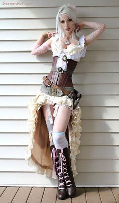 Boots and very-high/low skirt. Pocketwatch as necklace & lots of belts - steampunk