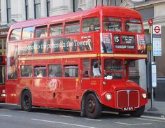 London Double-decker Routemaster bus at a stop outside St Paul's Cathedral