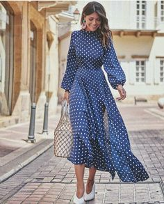 54 Winter Dresses To Inspire Daily Fashion Outfits Maxi Dress With Slit, Dot Dress, Dress Up, Dress Skirt, Shirt Dress, Modest Fashion, Fashion Dresses, Dress Outfits, Casual Dresses
