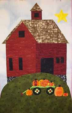 """Block 9 of """"All Around the Town"""", barn with pumpkins.  Applique by Teresa at Fabric Therapy, design by Sue Garman"""