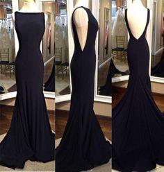 2017 Black Mermaid Style Prom Dress,Floor Length Evening Dress,Sexy Backless Prom Dress,Bateau Neckline Prom Dress,