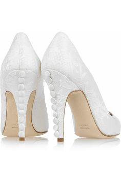 Lace Pumps with Buttons down the Heel