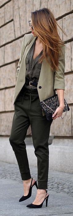 Olive Blazer Chic Office Style Fashionistas