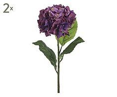Set di 2 fiori Ortensia artificiali viola - H 85 cm