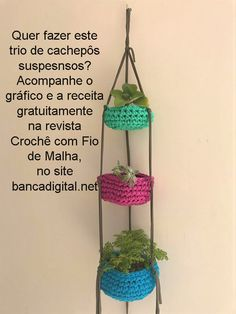 Yarn Crafts, Diy And Crafts, Crochet Plant Hanger, Knitted Pouf, Cotton Cord, Crochet Box, Hanging Pots, Paper Basket, Crochet Projects