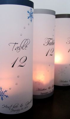 15 Winter Snowflake Table Number Luminaries by PoppySeedStation, $37.50