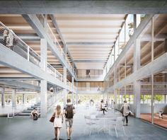 1. Preis zur Weiterbearbeitung empfohlen: Perspektive Innenraum, © Bruno Fioretti Marquez Architekten