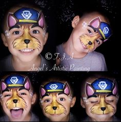 Face Painting For Boys, Face Painting Designs, Body Painting, Paw Patrol Face Paint, Dog Face Paints, Emoticon, Lolo, Boy Face, Lipgloss