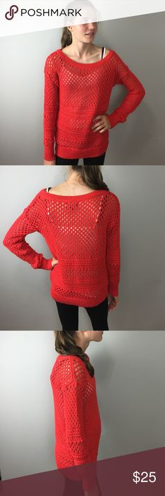 American Eagle Red Knit Sweater M Pretty, lightweight, open knit. 50% cotton, 42% polyester. A84M American Eagle Outfitters Sweaters Crew & Scoop Necks