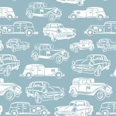 Blue Vintage Car fabric by gabriellecox on Spoonflower - custom fabric