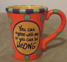 Burton and Burton funny sarcastic and  colorful coffee mug...LARGE sized! Mint!