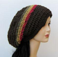 Brown hemp wool dread tam hippie slouchy hat rasta stripes