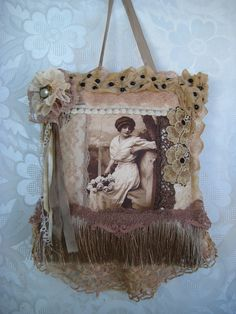 Etsy の Hanging wall pillow antique jet beads by JenniesHeirlooms