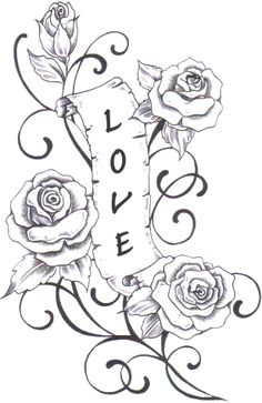 Blumenranken Tattoo: 20 beautiful templates for various parts of the body - Tattoo Ideas & Trends Rose Drawing Tattoo, Tattoo Design Drawings, Pencil Art Drawings, Love Drawings, Easy Drawings, Tattoo Designs, Cool Coloring Pages, Flower Coloring Pages, Coloring Books