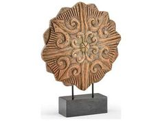 Wildwood Lamps Double Rosette Mango Wood Black Iron Base Sculpture