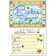 Fly into spring when you send these garden themed baby shower invitations to your guests!  Sold in packs of 8, invitations are printed on 2 sides and measure 4 x 5 1/2 inches.  Comes with envelopes.