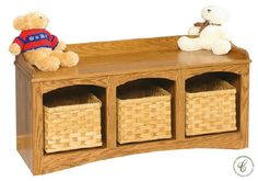 Appreciate this Amish made with quality solid wood hall seat, which comes to your home with a storage solution of hand woven baskets, too.