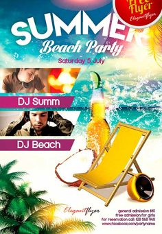 Green Summer Party Free Psd Flyer Template  HttpFreepsdflyer