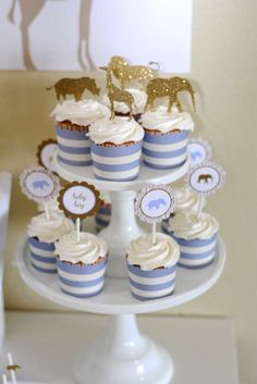 Love these elegant Safari Baby Shower Cupcakes. The toppers are so pretty! See more party ideas at CatchMyParty.com