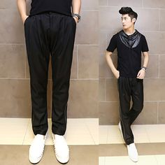 2017 men's new arrival Korean style fashion personality collapse trousers zipper harem casual pants