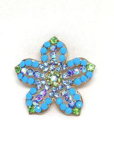 Splendid Estate Blue Green Rhinestone Star Flower Gold Tone