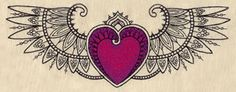Delicate Winged Heart | Urban Threads: Unique and Awesome Embroidery Designs